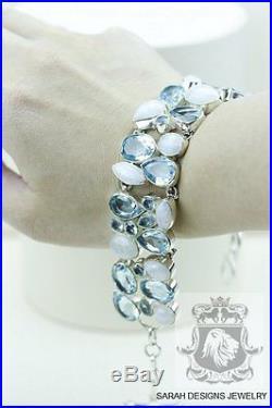 Moonstone Blue Topaz 925 SOLID SILVER BRACELET