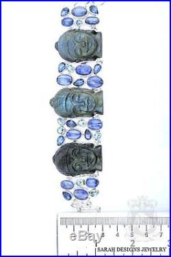 Most Unique Handcrafted Kwan Yin Buddha Labradorite 925 Solid Silver Bracelet