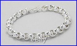 NEW 25.36g Solid Sterling Silver 8mm Wide ROLO Link Bracelet 8.5 Togle Clasp