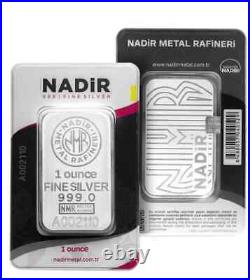 Nadir 1oz. 999 Fine Silver bullion bar, pure solid silver for investment / gift