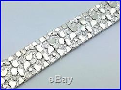 New Solid Sterling Silver 8.25 Nugget Style Adjustable Bracelet 51.5 grams 21mm
