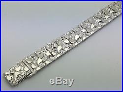 New Solid Sterling Silver 8 Nugget Style Adjustable Bracelet 34.8 grams 15 mm