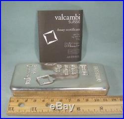 ONE KILO Solid 999 Silver Bar & VALCAMBI Suisse Assay EUR Fondeur Certificate