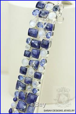 Ohh Yeah! Sodalite Simulated Sapphire Ceylon Moonstone 925 Solid Silver Bracelet