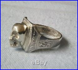 Old Unusual solid Silver Skull Ring Memento Mori Gothic full Hallmarks 1925