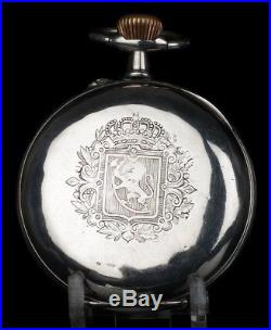 Oversized Solid-Silver Pocket Watch. With Coat of Arms. Switzerland, 1900