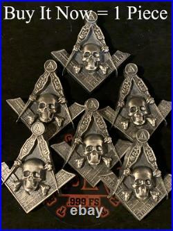 PRESALE Masonic Square & Compass Skeleton 999 Silver 4.3oz Skull Unique OOAK