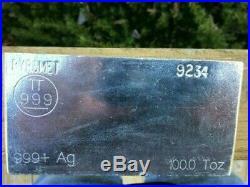 PYROMET 100oz Solid Silver Bar