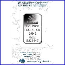 Pamp Suisse 1 ounce solid Palladium Bullion Bar