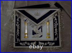 Past Master Masonic Apron Silver Bullion with Square Stairs Blue Satin Pocket NEW