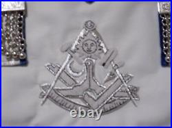 Past Master Silver Bullion Apron Square Masonic Tassels Leather Style Tools NEW