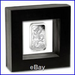 Proof Dragon 1 Oz. 9999 Fine Solid Silver Perth Mint Bar In Latex Case & # Coa