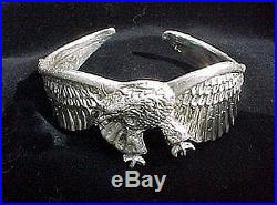 Pure Solid Sterling Silver 925 Eagle Cuff Bracelet Lost Wax Casting Handmade