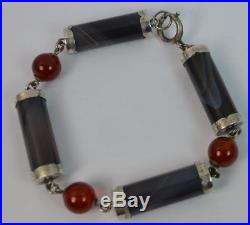 Quality Victorian Grey Banded Agate and Carnelian Solid Silver Bracelet