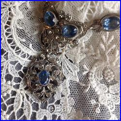 RARE 19th Century Antique FRENCH SOLID SILVER Pale Blue & Diamond PASTE NECKLACE