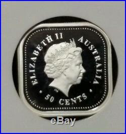 RARE (1 of 2) 2002 Australia Silver 50C Kookaburra Square Coin PF70 Ultra Cameo