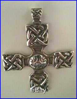 RARE Alexander Ritchie of Iona Solid Silver Celtic Cross Pendant, Glasgow 1929