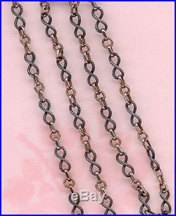 RARE FIN VINTAGE SOLID SILVER NIELLO and GOLD VERMEIL POCKET WATCH CHAIN 52 CM