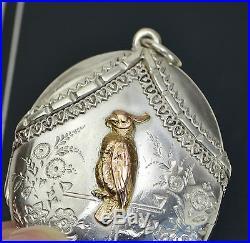 RARE Victorian SOLID SILVER & ROSE GOLD Unusual PARROT Bird Cockatoo LOCKET