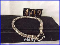 Rajasthan Tribal Solid Silver Flexible Snake Chain Bracelet, Vintage