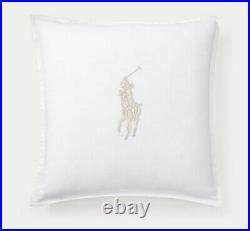 Ralph Lauren White Linen Pillow Silver Pony Bullion 20x20 NEW Retail $285+
