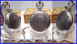 Rare Antique Omega 1895 Key Wind Swiss Made Half Hunter Case 935 Solid Silver