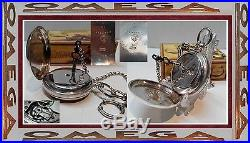 Rare Antique Swiss Pocket Watch Omega 1895 Key Wind Solid Silver 935 Box Chain