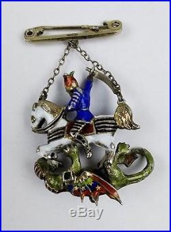 Rare Austro-Hungarian Solid Silver Enamel Saint St George & Dragon Pendant c1880