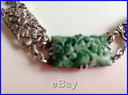 Rare, Exquisite, Authentic Art Deco Solid Silver & Chinese Carved Jade Bracelet
