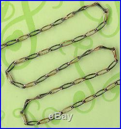 Rare Fin Vintage Solid Silver Niello And Vermeil Gold Pocket Watch Chain 49 CM