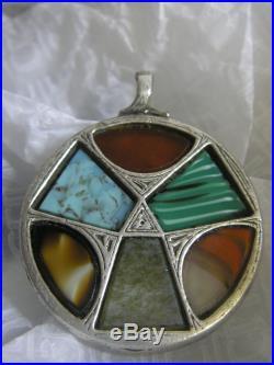 Rare Solid Silver Engraved Hardstone Brooch
