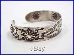 Rare Solid Silver Garden of the Gods Native American Indian Cuff Bracelet 1920's