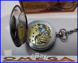 Rare Swiss Made Pocket Watch Omega Open Face. 900 Solid Silver Nielo Box Chain