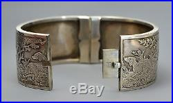 Rare Victorian SOLID SILVER Woodland HUNTING SCENE Bangle Dogs, Deer, Pheasant