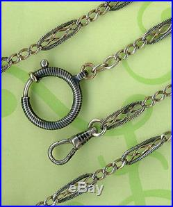 Rare Vintage Solid Silver Niello And Vermeil Gold Pocket Watch Chain