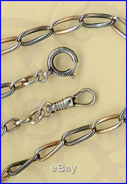 Rare Vintage Solid Silver Niello And Vermeil Gold Pocket Watch Chain Seal 800