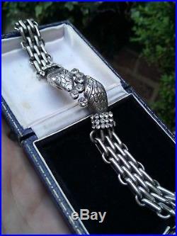 Rare Vintage Solid Sterling silver & Crystal/Paste Snake Chain Eternity Bracelet