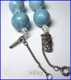 Real LARIMAR Stone 12mm Bead Solid Sterling Silver Antique Clasp 20.25 NECKLACE