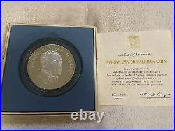 Republic Of Panama 20 Balboas 1974 2000 Grain Solid Silver 4oz Coin