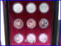 Royal Mint Queen Elizabeth Solid Silver Proof 18 Crown Collection, wood box