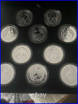Royal Mint Queens Beasts Full Set Of 10 X 2oz Solid Silver Coins