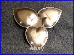 SOLID. 925 SILVER 15 Troy Ounce Vintage RARE Taxco Perlita M. R. R. 3 Hearts Tray
