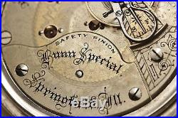 SOLID SILVER 1895 Illinois Bunn Special HUGE 18s RAILROAD Pocket Watch USA