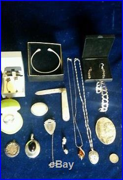 Solid Silver And Vintage Antique Costume Jewellery, Coin, Watch, Photos, The Lot