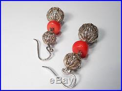 Solid Silver Filigree Coral Vintage Drop Earrings