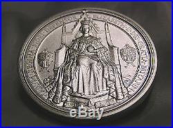 SOLID SILVER MEDALLION 157 GRAMMES 5oz GREAT SEAL QUEEN ELIZABETH II. 999 SILVER