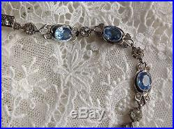 STUNNING RARE ANTIQUE 1800s FRENCH SOLID SILVER & PASTE NECKLACE