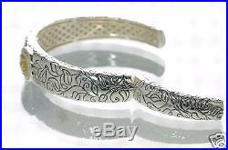 SeidenGang Solid 925 Sterling Silver & 18K Gold Peridot Cuff Bracelet