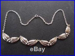 Signed Niels Erik From MODERNIST Danish Scandinavian Solid Silver Leaf Necklace