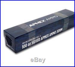 Solid 100 Troy Oz Pure. 999 Ag Solid Silver 30mm Cannon Bullet Bullion Bar NIB